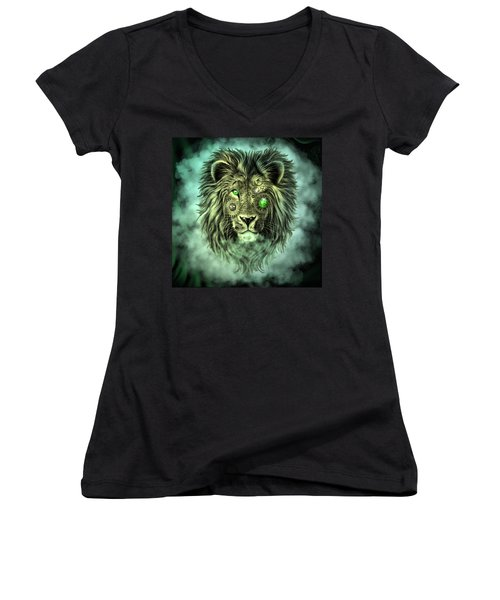 Emerald Steampunk Lion King Women's V-Neck (Athletic Fit)