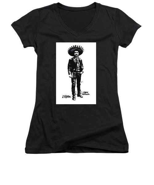 Women's V-Neck T-Shirt (Junior Cut) featuring the drawing Emiliano Zapata by Antonio Romero