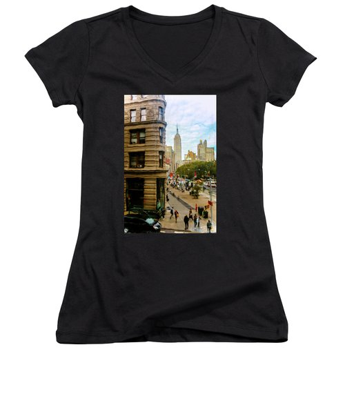 Women's V-Neck T-Shirt (Junior Cut) featuring the photograph Empire State Building - Crackled View by Madeline Ellis