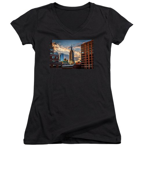 Empire State Building Sunset Rooftop Women's V-Neck