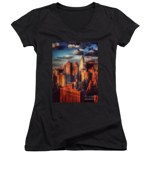 Empire State In Gold Women's V-Neck T-Shirt (Junior Cut) by Miriam Danar