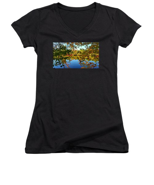 Women's V-Neck T-Shirt (Junior Cut) featuring the photograph Enchanted Fall by Valentino Visentini