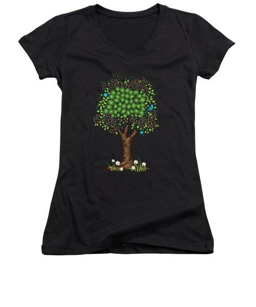 Enchanted Tree Women's V-Neck T-Shirt (Junior Cut) by Serena King