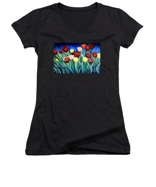 Enchanted Tulips Women's V-Neck