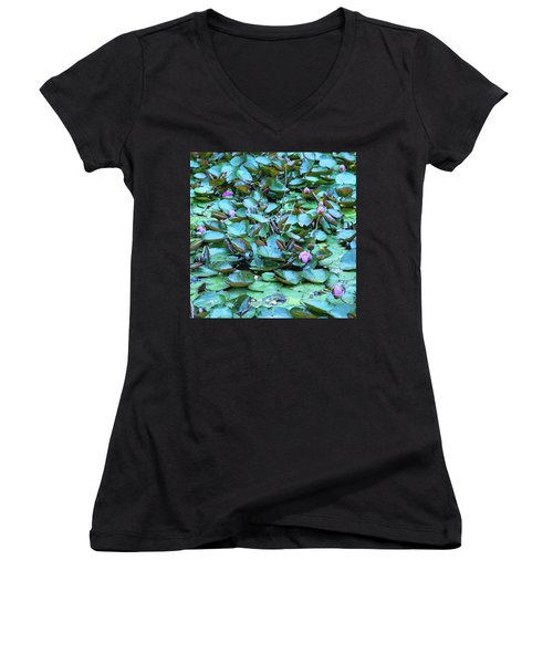 Women's V-Neck T-Shirt (Junior Cut) featuring the photograph Painted Water Lilies by Theresa Tahara