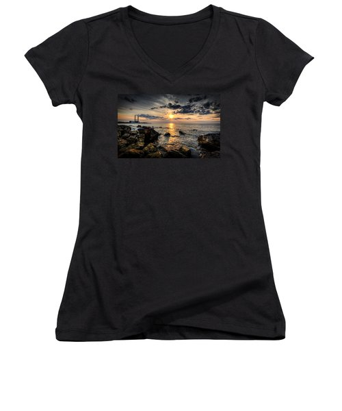 End Of The Day Women's V-Neck T-Shirt (Junior Cut) by Everet Regal