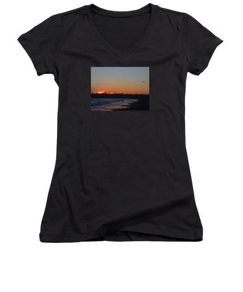 End Of The Island Day. Women's V-Neck T-Shirt (Junior Cut) by Robert Nickologianis