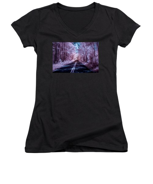 Women's V-Neck T-Shirt (Junior Cut) featuring the photograph End Of The Road by Louis Ferreira