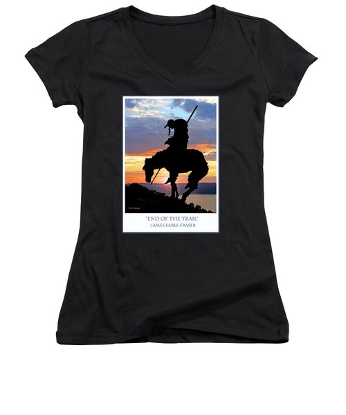 End Of The Trail Sculpture In A Sunset Women's V-Neck