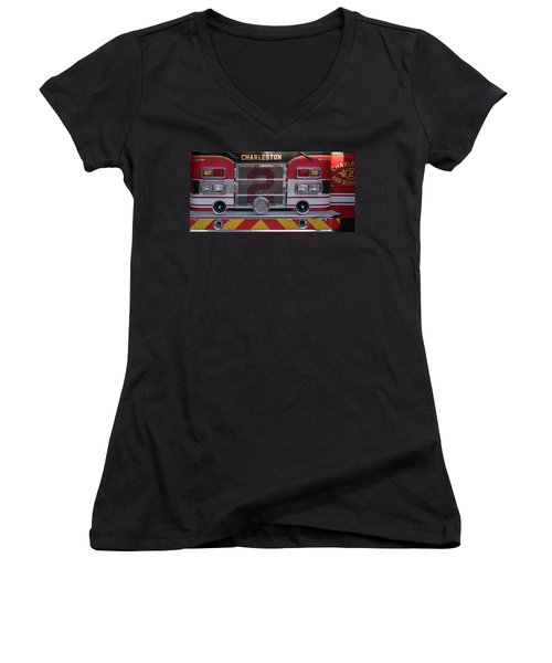 Women's V-Neck T-Shirt (Junior Cut) featuring the photograph Engine Number Two by Patricia Schaefer
