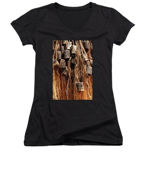 Women's V-Neck T-Shirt (Junior Cut) featuring the photograph Enkhuizen Fishing Nets by KG Thienemann