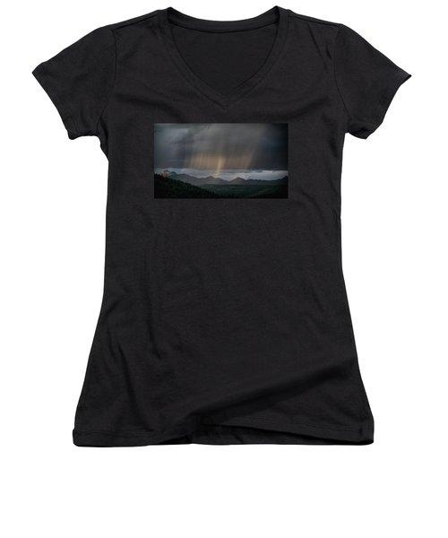Enlightened Shafts Women's V-Neck T-Shirt (Junior Cut) by Jason Coward