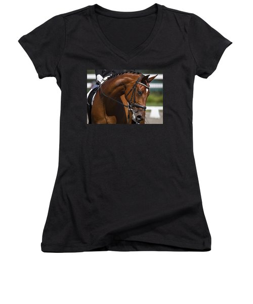 Equestrian At Work Women's V-Neck T-Shirt (Junior Cut) by Wes and Dotty Weber