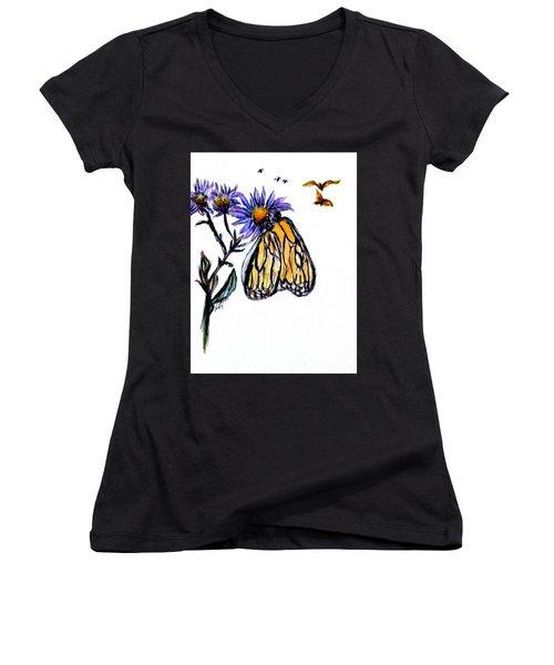 Erika's Butterfly One Women's V-Neck T-Shirt (Junior Cut) by Clyde J Kell
