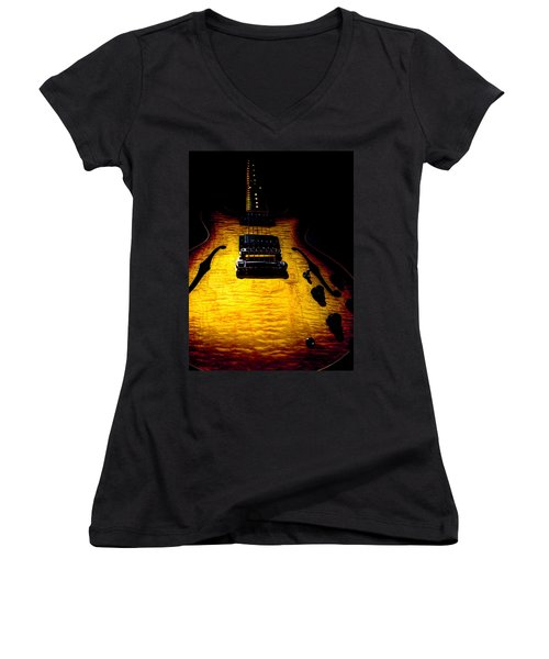 Es-335 Dots Flame Burst Spotlight Series Women's V-Neck