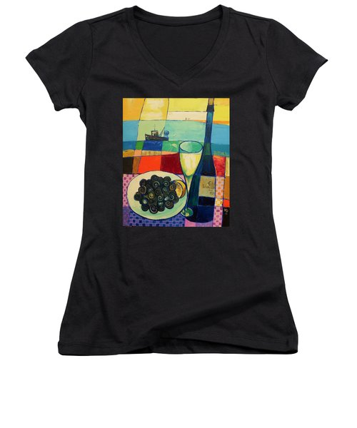 Women's V-Neck T-Shirt (Junior Cut) featuring the painting Escargot by Mikhail Zarovny