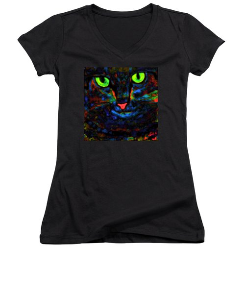 Ethical Kitty See's Your Dilemma Light 2 Dark Version Women's V-Neck (Athletic Fit)