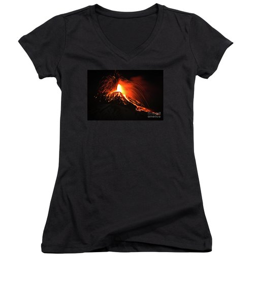 Women's V-Neck T-Shirt (Junior Cut) featuring the pyrography Etna by Bruno Spagnolo