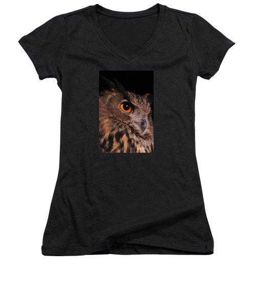 Eurasian Eagle-owl Women's V-Neck T-Shirt (Junior Cut) by Judy Whitton
