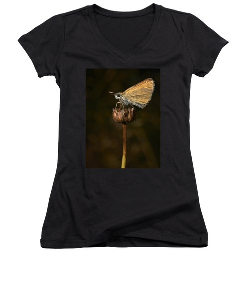 Women's V-Neck T-Shirt (Junior Cut) featuring the photograph European Skipper by Jouko Lehto