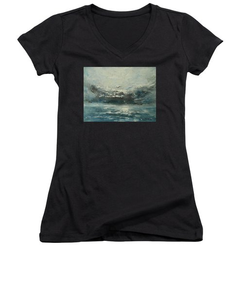 Even If The Skies Get Rough Women's V-Neck T-Shirt (Junior Cut) by Jane See