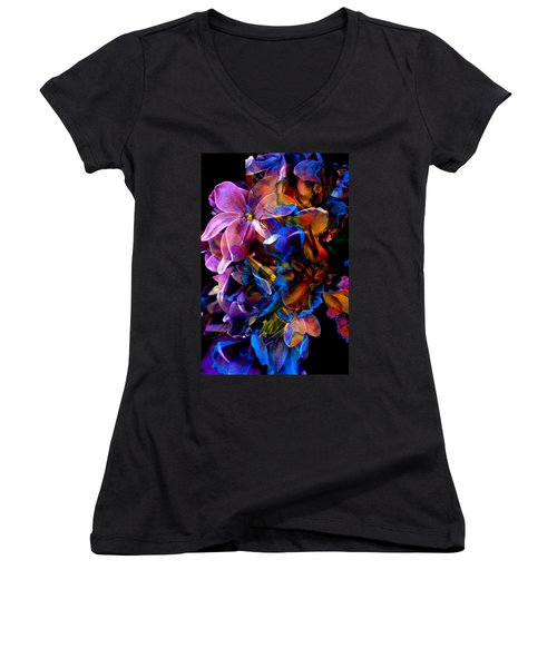 Women's V-Neck (Athletic Fit) featuring the painting Evening Bouquet by Hanne Lore Koehler