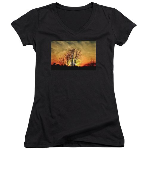 Evening Fire Women's V-Neck T-Shirt (Junior Cut) by Bruce Patrick Smith
