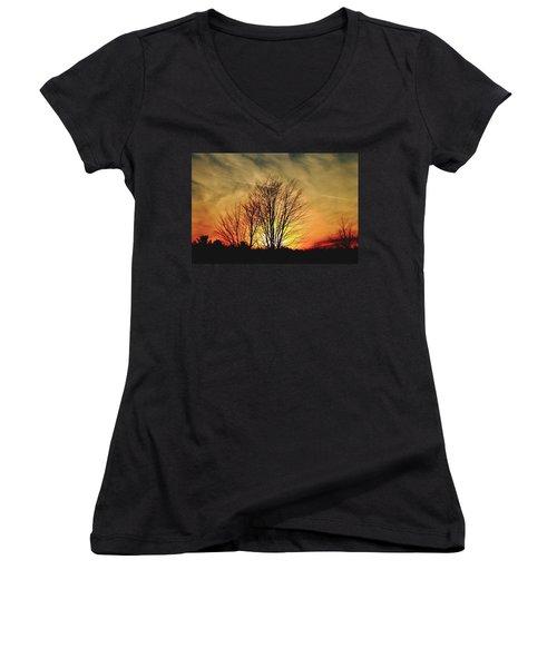 Evening Fire Women's V-Neck T-Shirt (Junior Cut)