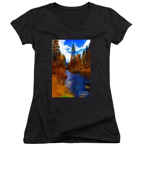 Evening Hatch On The Metolius Painting Women's V-Neck T-Shirt (Junior Cut) by Diane E Berry