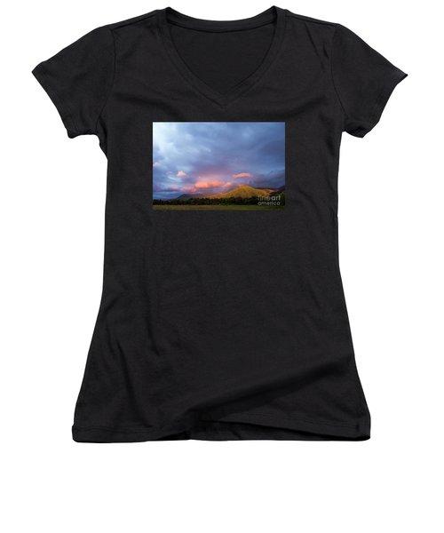 Women's V-Neck T-Shirt (Junior Cut) featuring the photograph Evening In Cades Cove - D009913 by Daniel Dempster