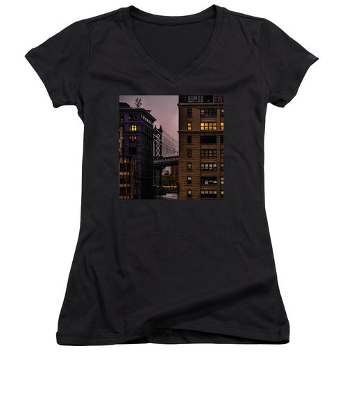 Women's V-Neck T-Shirt featuring the photograph Evening In Dumbo by Chris Lord