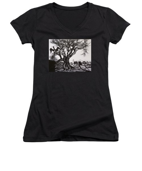 Women's V-Neck T-Shirt (Junior Cut) featuring the drawing Evening In Midnapore by Anna  Duyunova
