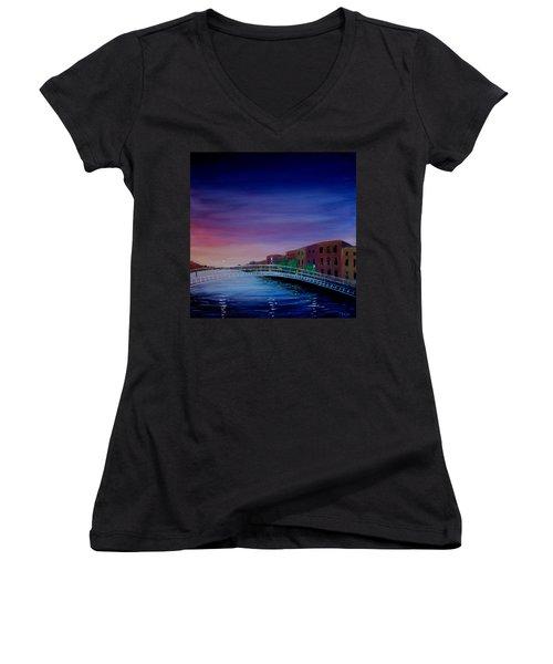 Evening Reflections Dublin  Women's V-Neck T-Shirt