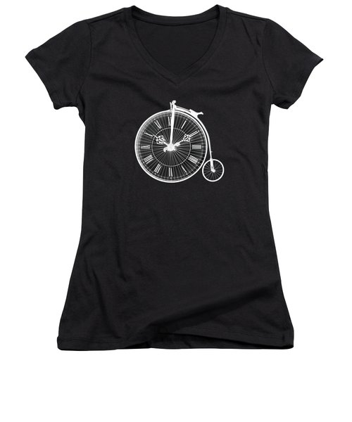 Evening Ride Penny Farthing On Black Women's V-Neck (Athletic Fit)