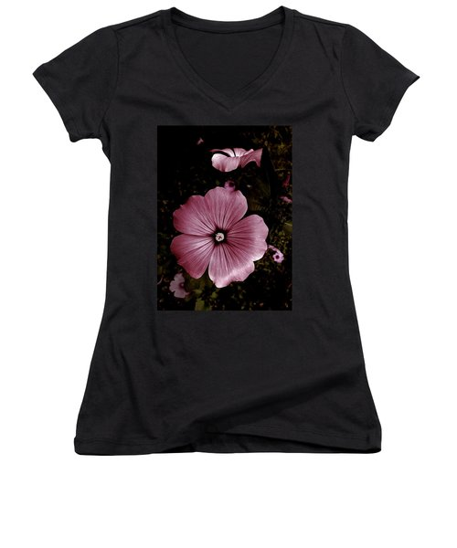 Evening Rose Mallow Women's V-Neck (Athletic Fit)