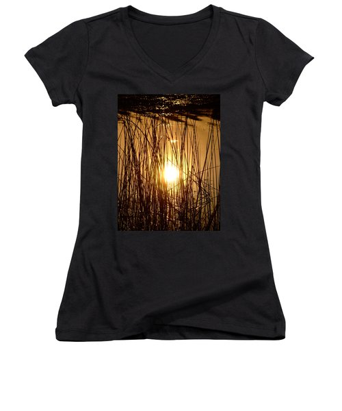 Evening Sunset Over Water Women's V-Neck