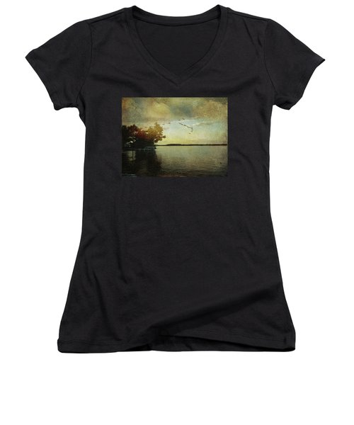 Evening, The Lake Women's V-Neck (Athletic Fit)