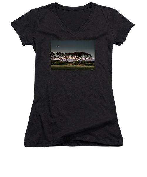 Women's V-Neck T-Shirt (Junior Cut) featuring the photograph Dusk At Fort Fisher by Phil Mancuso