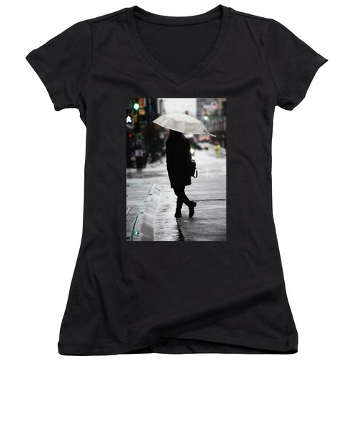 Women's V-Neck T-Shirt (Junior Cut) featuring the photograph Every One Pays  by Empty Wall