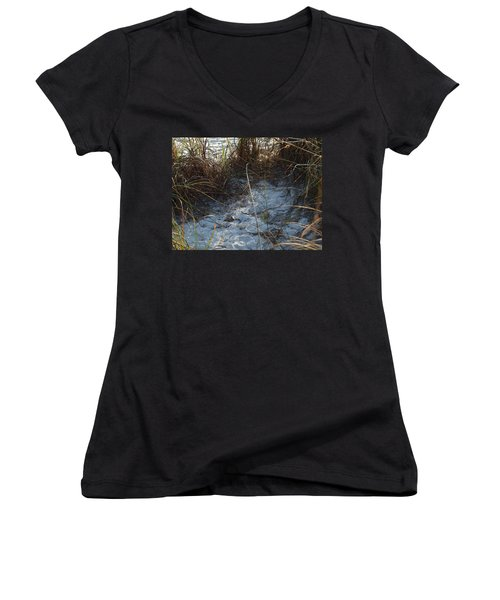 Women's V-Neck T-Shirt (Junior Cut) featuring the photograph Everything Grows In The Sand by Robert Margetts
