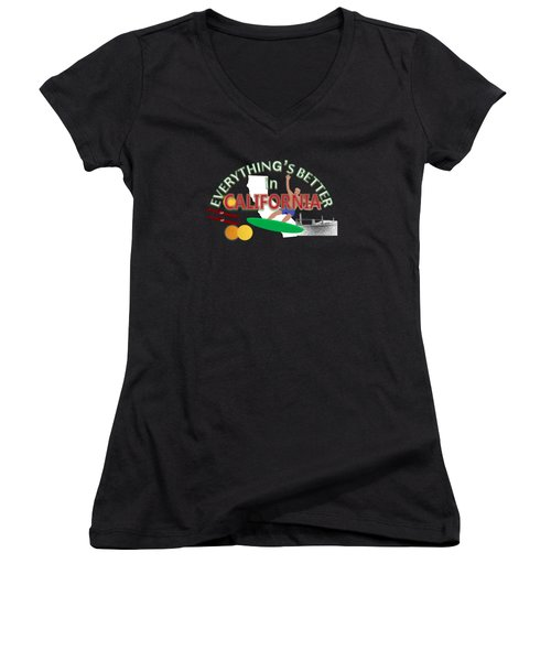 Everything's Better In California Women's V-Neck T-Shirt (Junior Cut) by Pharris Art
