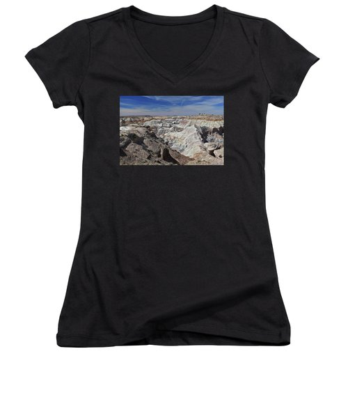 Women's V-Neck T-Shirt (Junior Cut) featuring the photograph Evident Erosion by Gary Kaylor