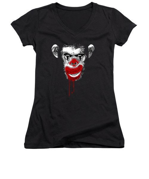 Evil Monkey Clown Women's V-Neck T-Shirt (Junior Cut) by Nicklas Gustafsson