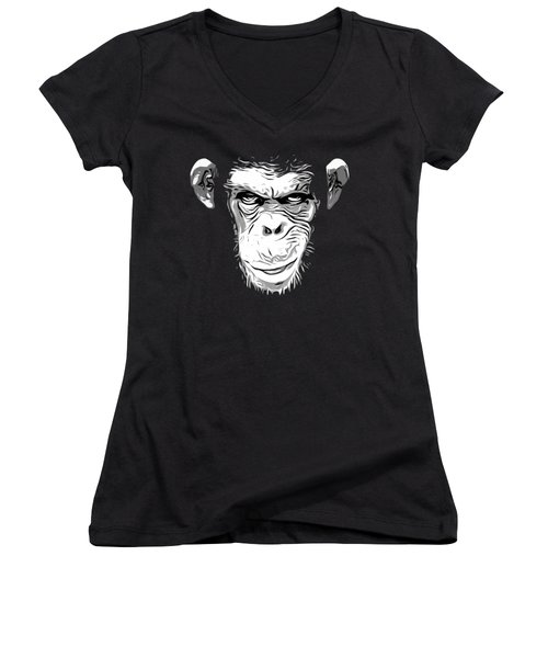 Evil Monkey Women's V-Neck T-Shirt (Junior Cut) by Nicklas Gustafsson