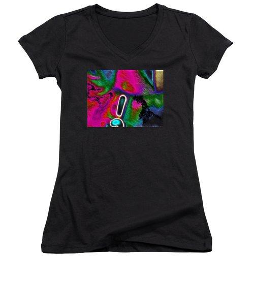 Women's V-Neck T-Shirt (Junior Cut) featuring the digital art Exclamation Mark by Maciek Froncisz