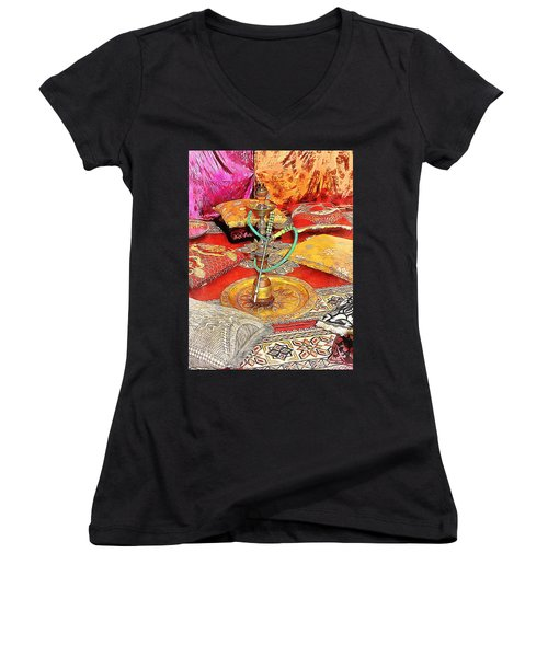 Exotic Oriental Hookah Pipe 2 Women's V-Neck (Athletic Fit)