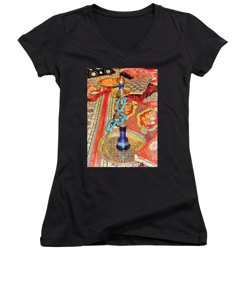 Exotic Oriental Hookah Pipe 4 Women's V-Neck (Athletic Fit)