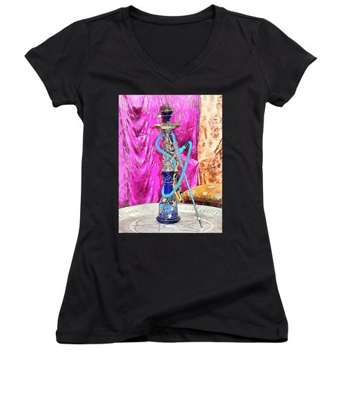 Exotic Oriental Hookah Pipe Women's V-Neck (Athletic Fit)