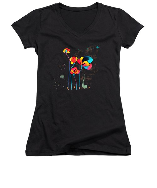 Exotic Watercolor Flower Women's V-Neck (Athletic Fit)