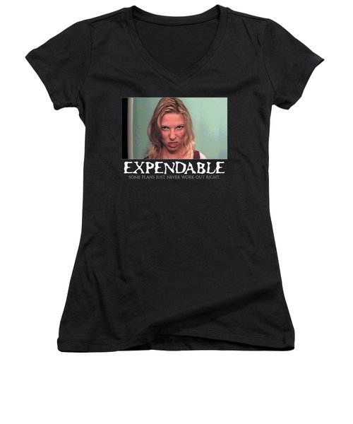 Expendable 10 - Black Women's V-Neck T-Shirt (Junior Cut) by Mark Baranowski